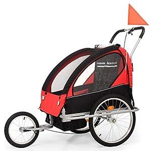 Roderick Irving Fahrradanhänger 2in1 Kinderfahrradanhänger & Kinderwagen schwarz und rot Fahrradanhänger Sitzfachmaße…