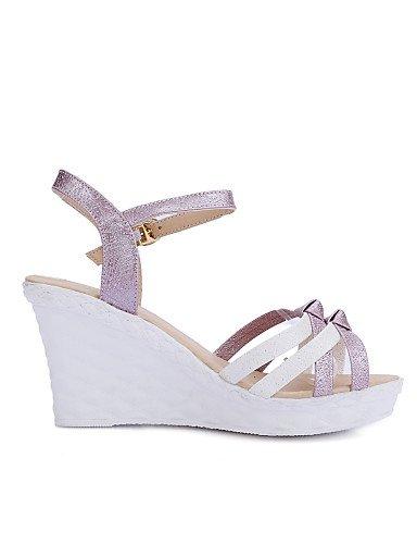 UWSZZ IL Sandali eleganti comfort Scarpe Donna-Sandali-Casual-Zeppe / Aperta-Zeppa-Finta pelle-Blu / Rosa / Viola / Bianco Pink