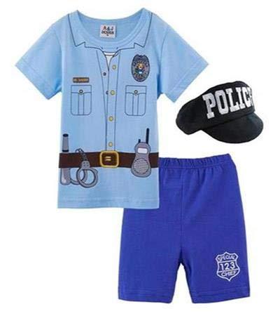 Mombebe Baby Jungen Polizei Halloween Kostüm Kurz Bekleidung Set mit Hut (Polizei, 12-18 Monate)