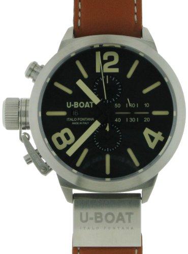 U-Boat Classico 53 SS Chrono Black 2273 - Reloj para hombres, correa de cuero color marrón