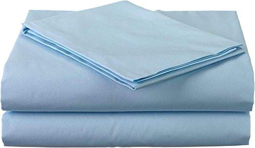 Bettlaken-Set aus 100% Perkal, sehr weich und gemütlich, 38,1 cm tief, 400 TC, kurzes Queensize-Bett (152,4 x 198 cm), Hellblau (Kurze Queensize-betten)