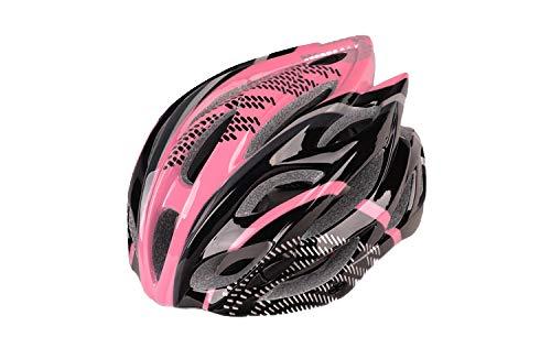 FJXJLKQS Mountainbike Helm Sicherheitsschutz Komfortable Leichte Radfahren Mountain Road Fahrradhelme Für Erwachsene Männer Frauen 57-63 cm,Pink+Black -