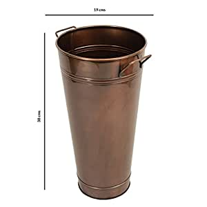 Store Indya, Secchio di metallo francese Fiore Vaso Manici Giardino accessorio interno o esterno