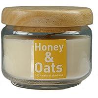 Colore candela miele & Mandorla in piante cera in vetro con coperchio in legno (350 (Miele Candela Profumata)