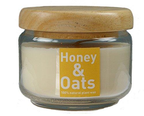 (Natur Kerze HONIG & MANDEL aus Pflanzenwachs im Glas (350 ml) mit Holzdeckel, beduftet mit hochwertigen Parfümölen)