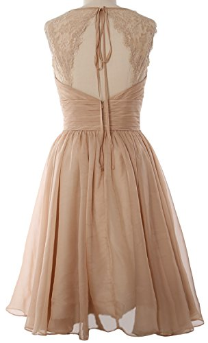 MACloth Elegant Short Bridesmaid Dress Vintage Chiffon Wedding Party Formal Gown Horizon