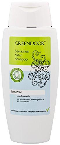 Greendoor Natur Shampoo Neutral 200 ml - für normales Haar, ohne Duftstoffe, ohne Sulfate, ohne Silikon, ohne Konservierungsmittel, basische BIO Haarpflege mit Sesam, Ringelblume und Granatapfel, all natural, 100% Natur