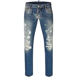 Jeans bleu S71LA0893 Dsquared2 Slim Jean Hommes, Size:50