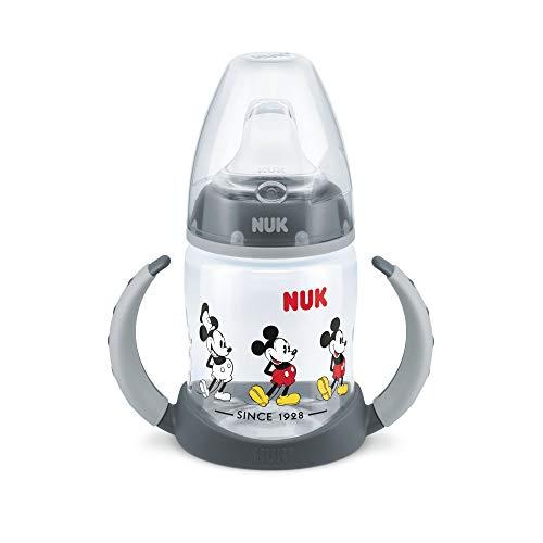 Nuk - Biberón de Silicona con Diseño de Mickey Mouse - Color Negro - 6-18 meses - 150 ml