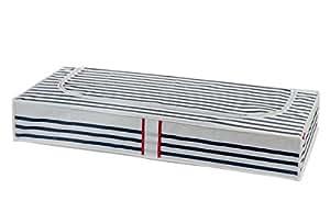 Compactor Home RAN5302 Marinière Housse Dessous de Lit Fibre Intissée/Polypropylène Blanc/Bleu 100 x 45 x 15 cm
