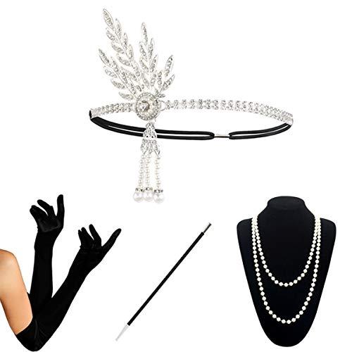(KQueenStar 1920s Damen Gatsby Kostüm Accessoires Set Halskette Handschuhe Zigarettenhalter 20er Jahre Stirnband Charleston Gatsby Retro Stil Kostüm Ball)