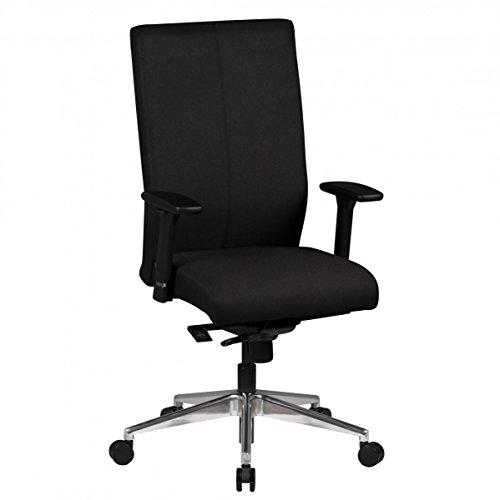 Bürostuhl Ergonomisch ADAM-2 8h Stoff Sitz Schwarz mit Armlehnen | Drehstuhl mit Synchronmechanik Höhenverstellbar, Drehbar, Wippfunktion | Schwerlaststuhl bis 120 KG | Chefsessel mit Lordosenstütze 80.000 Scheuertouren