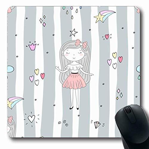 Mousepads Crown Pink Entzückende niedliche kleine Mädchen-Fräulein Adolescent Ballerina Blonde Clip Face längliche Form rutschfeste Gaming Mouse Pad Gummi längliche Matte,Gummimatte 11,8