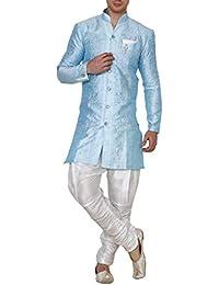 Royal Kurta Men's Jacquard Silk Floral Print Indowestern Sherwani