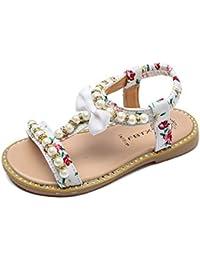 8f7b6784316 Sandalias para niños de Baby GirlsBowknot Pearl Crystal Roman Sandals  Princess Shoes