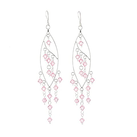 Mytoptrendz® Sterling Silver and Crystal Bead Chandelier long drop dangle