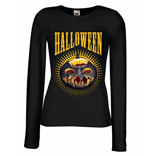 Weibliche langen Ärmeln T-Shirt Halloween Kürbis - Party Kostüm Ideen 2017 (Medium Schwarz (Kostüme Schnell Und Zusammen Einfach Halloween)