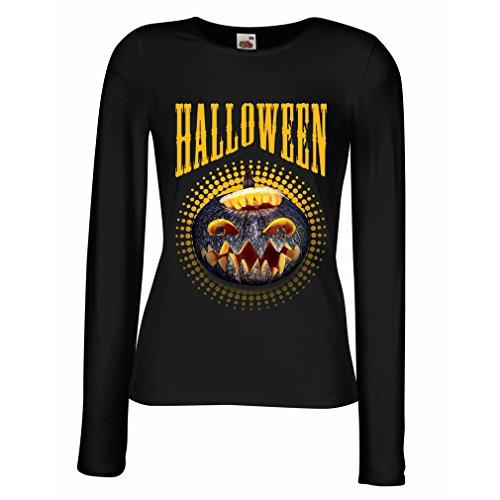(lepni.me Weibliche Langen Ärmeln T-Shirt Halloween Kürbis - Party Kostüm Ideen 2018 (XX-Large Schwarz Mehrfarben))