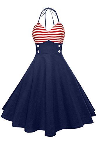 Axoe Damen 50er Jahre Pinup Neckholder Kleider mit Gestreift Rockabilly Halterneck Streifen Marine Partykleid Knielang ()