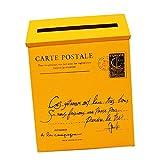 FLAMEER Buzón Exterior Caja para Periódicos Revistas (23 x 6 x 30 cm, Hierro) - Amarillo