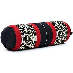 Leewadee Grande Yoga Bolster Redondo Pilates Almohadilla De Yoga Larga Almohadas Cervicales Reposacabezas Orgánico Naturalmente Ecológico, 65x25x25 cm, Capok, Negro Rojo