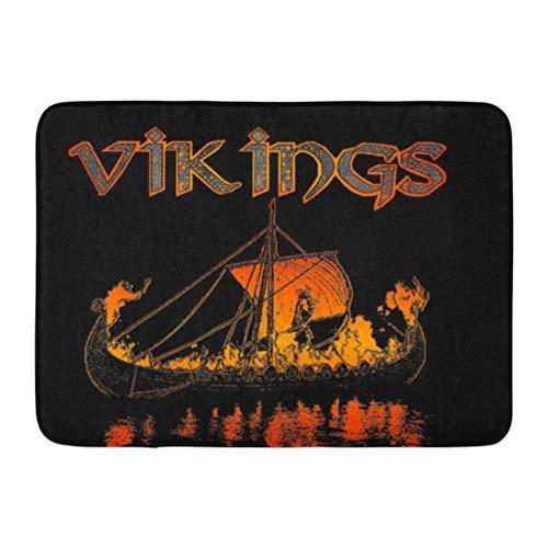 LIS HOME Badematte Odin Viking Funeral Ravens Huginn dachte Muninn Badezimmer Dekor Teppich