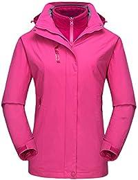 QitunC Mujer Hombre 3 en 1 Al Aire Libre Chaqueta Impermeable Montaña Esquí Abrigos con Capucha
