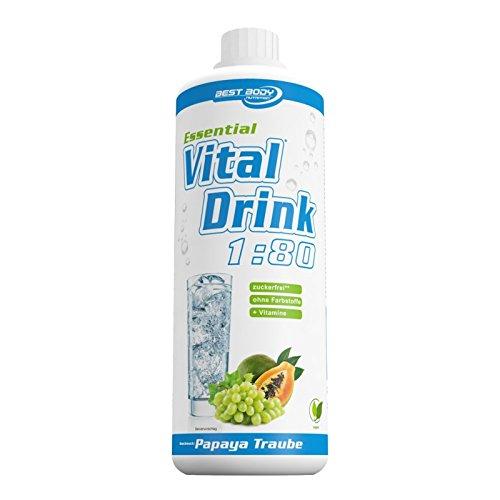 Trauben-drink (Best Body Nutrition - Essential Vital Drink, 1:80, Papaya Traube, 1:80, 1000 ml Flasche)