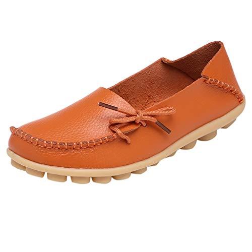 JURTEE Sneaker Damen, Mutter Lässig Weiche Schuhe Krankenschwester Krawatte Flache Schuhe Lässig Driving Schuhe Sportschuhe(37 EU,Orange)