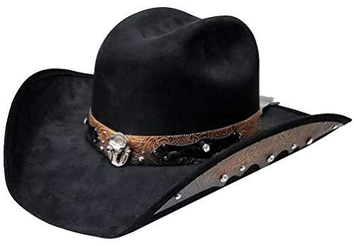 Modestone ''Felt Feel'' Chapeaux Cowboy Leather-Like Appliques Rhinestones Black