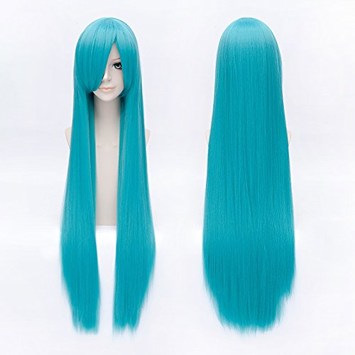 HOOLAZA Lago azul largo recto flequillo peluca 100