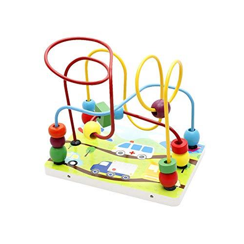 Xiton 1pc Kinder Bead Maze Spielzeug für Kleinkind Bunte Roller Coaster Bead Toy Abacus Draht Bead Holz pädagogisches Spielzeug für Kinder über 3 Jahre alt Fahrzeug Stil - Draht-strecke
