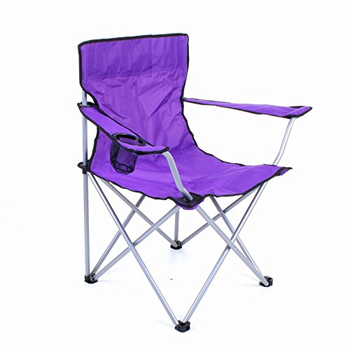 HOME HUT® FOLDING CAMPING CHAIR HIKING GARDEN INDOOR OUTDOOR FISHING SEAT GARDEN FESTIVAL (Purple)