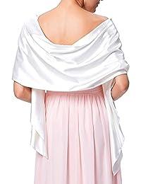 f8e92464efc Très Chic Mailanda Écharpe Châle Étole en Satin Femme Wrap Foulard Pashmina  pour Soirée Cérémonies Fêtes