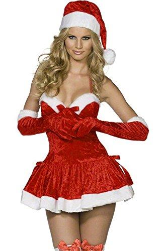 eiten Sexy Weihnachtsmann Kostüm Elfe Weihnachten Santa Weihnachtsfrau Damen Outfit Rot LC7256 (Damen-santa Anzug)