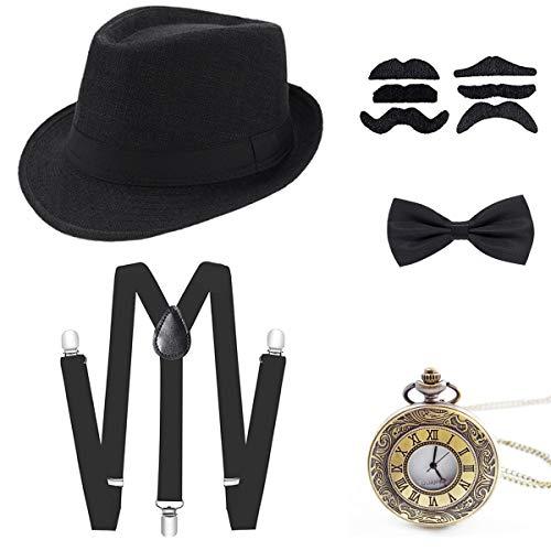 Wagoog 1920s Jahre Herren Gatsby Accessoires, 20er Mafia Flapper Kostüm Set mit Panama Gangster Hut, Verstellbar Elastisch Hosenträger, Halsschleife Fliege und Vintage Taschenuhr -