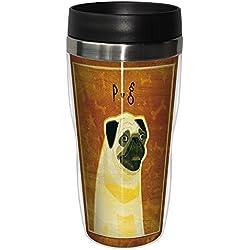 Árbol de-free de felicitación sg23991 de perro carlino Sip ' n Go con forro de Viaje Vaso para cuarto de baño