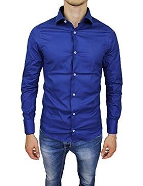 Camicia uomo sartoriale blu elettrico manica lunga slim fit casual elegante