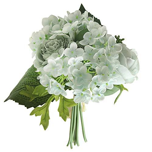 Juesi Künstliche Blumen Pfingstrose Blumen Hochzeit Blumenstrauß Brautstrauß Hortensien Dekor blau (Blaue Hortensie Brautstrauß)