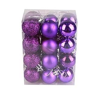 Nsblln Chirstmas de Ornamentos Colgantes, irrompible Bola de Navidad Colgando decoración de la Boda Bola en casa Morada 24X