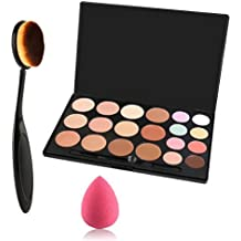 Lover Bar 20 Colour Makeup Cream Contour Kit-Camouflage Pro Concealer Palette-Cosmetics Contouring and Highlighter Make Up Foundation-Professional Face Corrector + Oval Toothbrush Brush Beauty Blender by Lover Bar