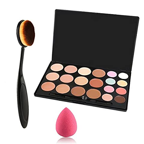 Lover Bar 20 Colour Makeup Cream Contour Kit-Camouflage Pro Concealer Palette-Cosmetics Contouring and Highlighter Make Up Foundation-Professional Face Corrector + Oval Toothbrush Brush Beauty