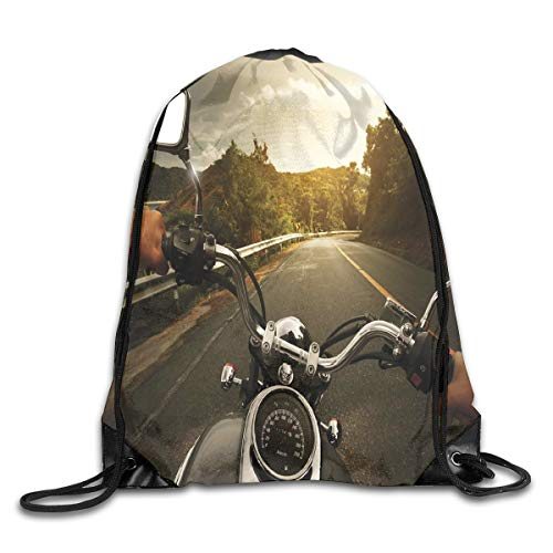 EELKKO Drawstring Backpack Gym Bags Storage Backpack, Rider Driving A Chopper On Asphalt Road Within Forest Journey Photography,Deluxe Bundle Backpack Outdoor Sports Portable Daypack