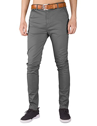 Italy Morn Herren Chino Designer Hose Casual Stoff Hose Chinohose Slim Fit (S, Mitte Grau)