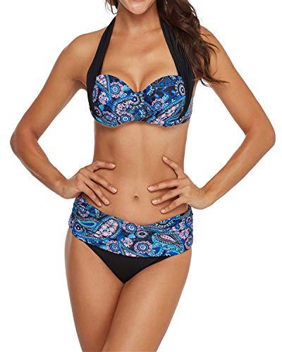 KISSLACE Damen Bikini Set Push Up Gepolstert Cups Mit Bügel Bandeau Blumen Badeanzug Bademode Monokini Zweiteilige Hoher Taille X-Blau XL
