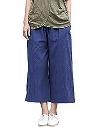 3482773f1f848 ShiFan Pantalon Pata De Elefante Mujer Casual Pantalones Capri De Lino