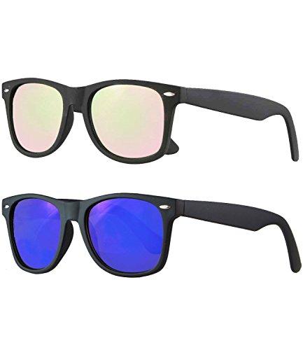 Caripe Retro Nerd Vintage Sonnenbrille verspiegelt Damen Herren 80er - SP (2er Set - Schwarz gummiert - 1x Blau verspiegelt - 1x Rosa verspiegelt)