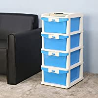 Nilkamal CHTR24 Four Layers Plastic Chest of Drawer (Blue and Cream)