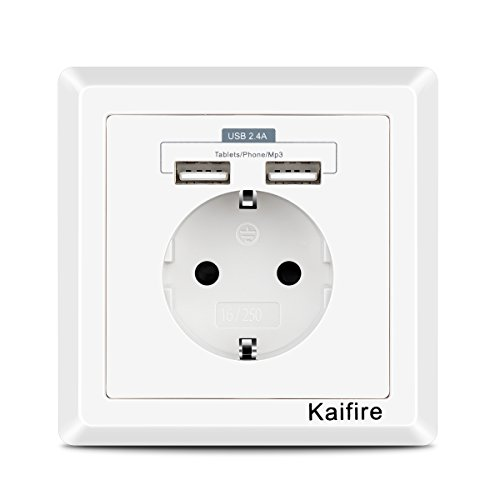 Kaifire USB enchufes 2.4 A pared enchufe Schuko rasante con 2 USB...