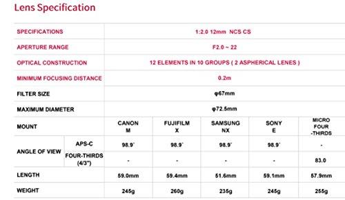 Samyang 12mm F2.0 Objektiv für Anschluss Fuji X - 6